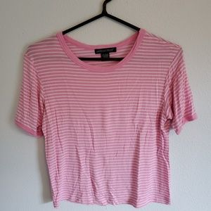 American Dream Pink and White Stripe Crop Tee